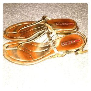 💕Cute Prada gold thong sandals sz 7.5
